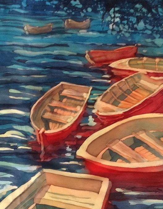 Raudonos Valtys/ Red Boats. Painting process